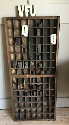 Vintage Woden Letterpress Printers Tray comes with 24 wooden letters