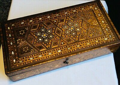 tunbridge ware wooden box antique inlaid mosaic Collectable. Restoration project