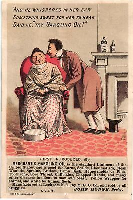 A Victorian Advertising Card - Merchant's Gargling Oil - M. G. O. Co. - USED