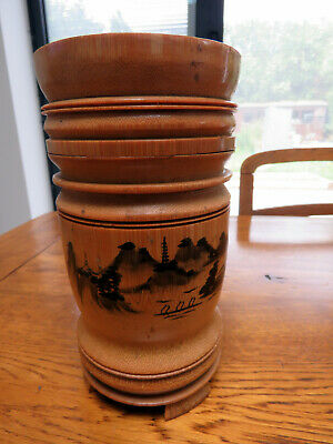 Vintage Oriental Calligraphy Pen Pot Paint Brush Holder Hanging Bamboo Container
