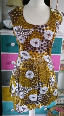 Banner Psychedelic 60s 70s Mustard Floral Flower Power Mod Shift Dress Tunic