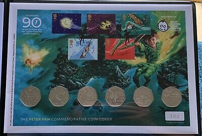 2019 Official The Peter Pan 50p BUNC Commemorative Coin Cover Stamp Set + COA BU