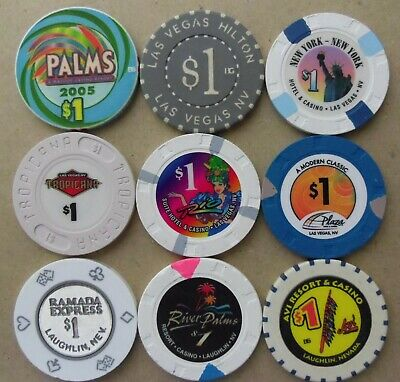 Lot 9 $1 CASINO CHIPS from NEVADA Las Vegas and Laughlin