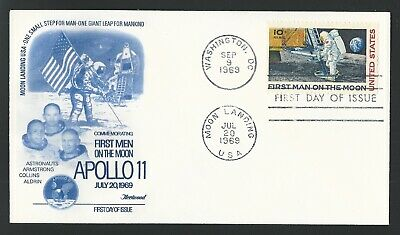 NEW 1969 Apollo 11 First Man on the Moon Landing Stamp First Day Cover Fleetwood