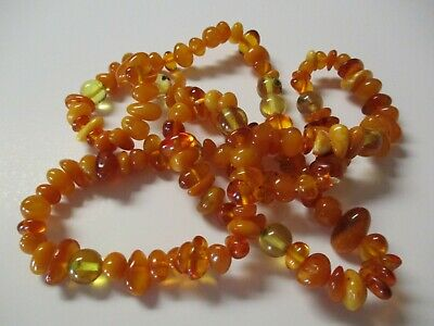 Vintage Mixed Amber Necklace Lot Chunky Long Antique Natural And Formed Old