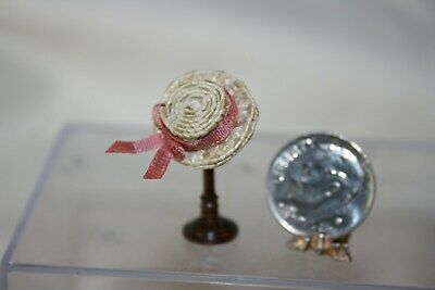 Miniature Dollhouse Artisan Handwoven Straw Hat Dusty Pink Silk Bow 1:24 or