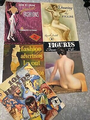 Lot of 5 Vintage WALTER T FOSTER How To Draw Art Books FIGURE Drawing