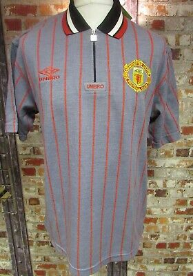 Vintage Umbro Manchester United Casual Polo Short  in Grey Brand New With Tags M