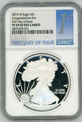 2019 W $1 Proof Silver Eagle NGC PR69 First Day Of Issue Congratulations Set