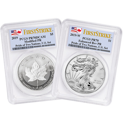 2019 Pride Of Two Nations Set Pcgs Reverse Pr70 First Strike 2-Coin Set Presale