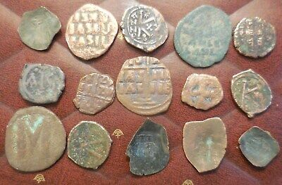 Lot of 15 Byzantine Coins, Largest is 32 mm, All Have Detail!