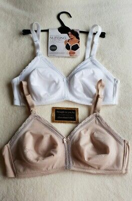New M&S 2 Pack Non Wired Maternity Nursing T-Shirt Bras With Easy Fold Cups 36D