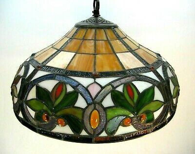 "Beautiful Leaded Stained Glass Hanging Light 16"" Round Shade - Lotus Flower?"