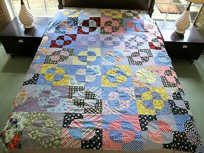 """Vintage Hand Pieced Feed Sack ROB PETER TO PAY PAUL Quilt TOP; 78"""" x 68""""; Good !"""