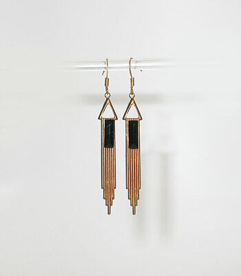 VTG 20's style ART DECO Stepped EARRINGS with Black Glass Baguettes!