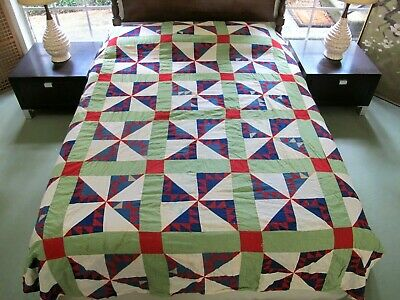 Vintage Hand Pieced Feed Sack KANSAS TROUBLE Quilt Top: STAINS + BLEEDING DAMAGE