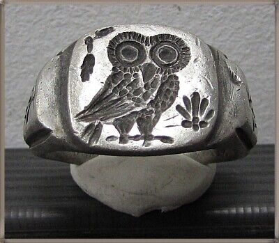 ** OWL of ATHENA **Ancient Silver Legionary Greek Ring **AMAZING **