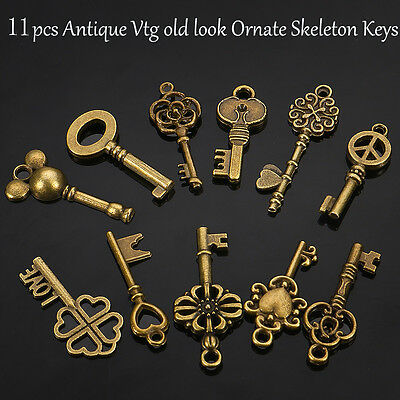 11Pcs Old Look Antique Vintage Pendant Key Bronze Skeleton Heart Jewelry Gift