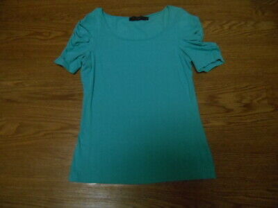 The Limited Rouched Sleeve Scoop Neck Top AQUA Small NWOT!