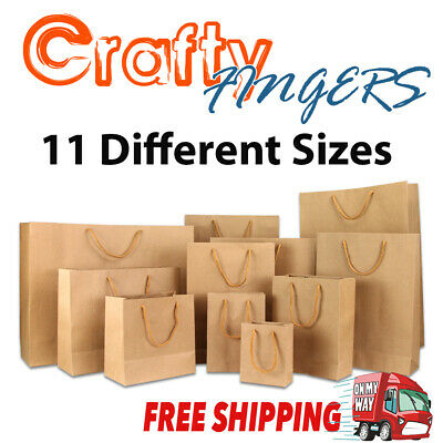 10-50 BULK BROWN KRAFT CRAFT PAPER GIFT CARRY BAGS Paper HANDLES 11 sizes