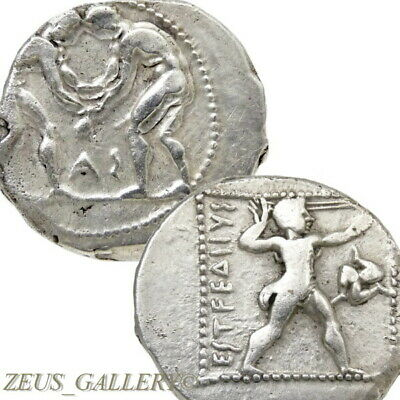 WRESTLERS Triskeles. Aspendos Pamphylia 400 BC Ancient Greek Silver Stater Coin