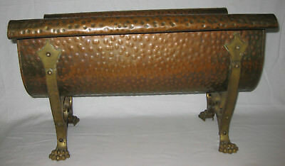 ARTS & CRAFTS 19 early 20th Cent Copper/ Brass Log Holder (Magazine Rack)