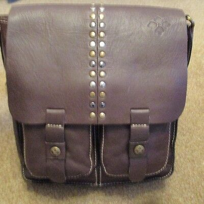 Patricia Nash Brown Studded Chocolate Armeno Messenger Leather Crossbody Purse