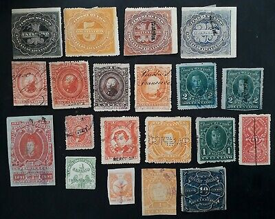 VERY RARE  1880s- Mexico lot of 21 Revenue Tax stamps Mint & Used
