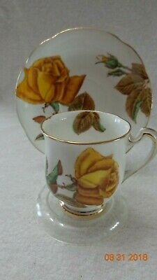 Royal Standard Bone China demitasse set pattern is ENGLISH ROSE yellow and gold