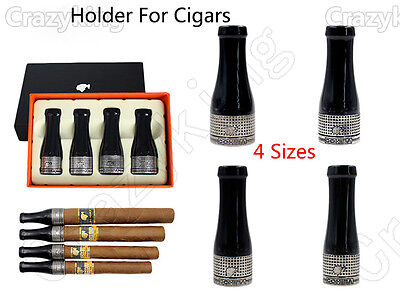 COHIBA 4 Size Antique Silver Resin Metal Travel Cigar Nozzle Tip Holder Gift Set