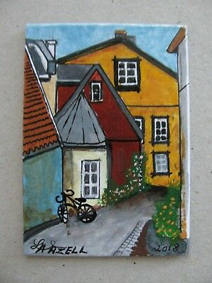 """A696      Original Acrylic Art Aceo Painting By Ljh """"Street In Oslo, Norway''"""