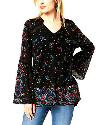 Style & Co Women's Black Paisley Glow Printed Flare-Sleeve Boho Top Size XL $69