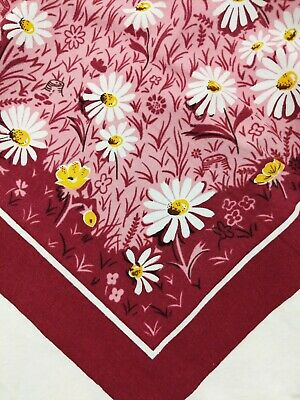 "Vintage Cotton Tablecloth Daisy Flowers Wine Pink White 60"" x 52"" Flaw Summer"