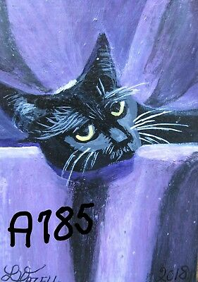 """A785        ORIGINAL ACRYLIC ACEO PAINTING BY LJH   """"PRINCE""""  Cat Kitten"""