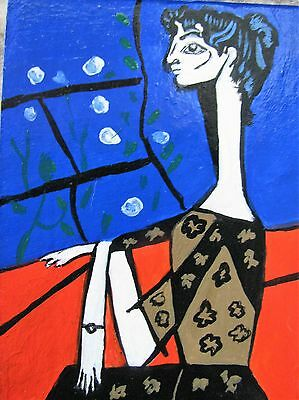 """A506 Original Acrylic Aceo Painting By Ljh  """"Jaqueline With Flowers"""""""