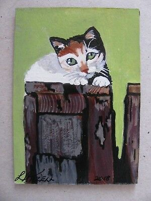 """A671      Original Acrylic Aceo Painting By Ljh     """"Swayze""""      Cat  Kitten"""