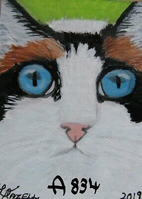 """A834        Original Acrylic Aceo Painting By Ljh  """"Frankie""""  Cat  Kitten"""