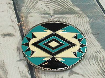 Vintage 1991 Siskiyou Buckle Co. Western Inlaid Enamel Belt Buckle Y-92 Blue