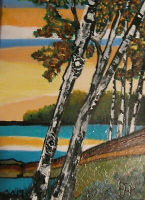 "A548   Original Acrylic  Aceo Painting By Ljh  ""Sunset Over Possum Lake"""