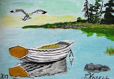 """A485  Original Acrylic Miniature Art Aceo Painting By Ljh """"Boat Reflection''"""