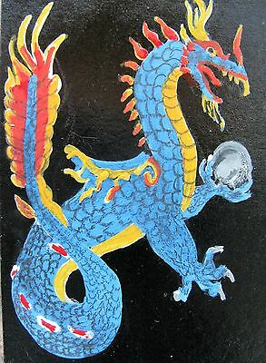 """A479    Original Acrylic Aceo Painting By Ljh       """"Dragon''"""