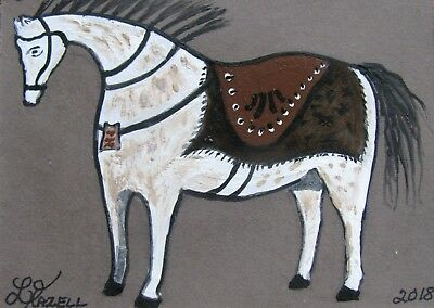 "A652    Original Acrylic  Aceo Painting By Ljh  ""Carved Horse"""