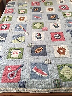 Vintage Hand Crafted & Quilted Spots Quilt Soccer Baseball Golf Pottery Barn Kid