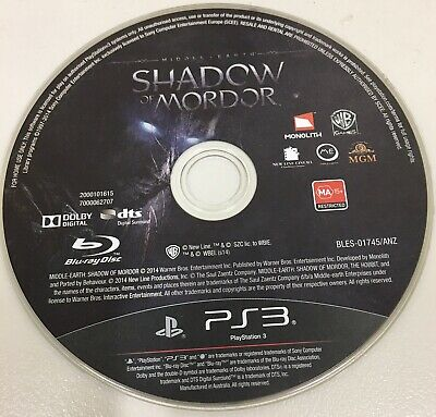 Middle Earth Shadow Of Mordor Ps3 Playstation 3 Original Aus Pal