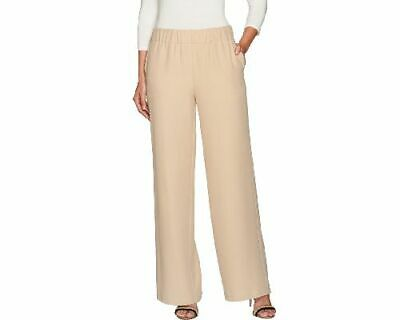 H by Halston Womens Stretch Twill Pull-On Pants Wide Leg 10 Sand Dune A269418