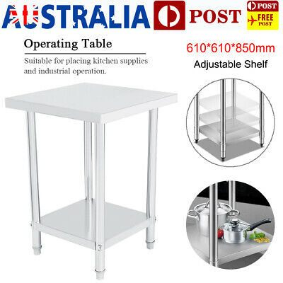61x61cm Commercial Stainless Steel Kitchen Work Bench Top Food Grade Prep Table