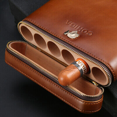 COHIBA Coffee Leather Spanish Cedar Lined 6 Tube Cigar Case Humidor