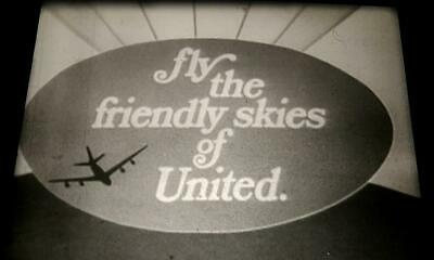 16mm TV commercial: UNITED AIRLINES 1960's vintage classic swingin kine ad RARE