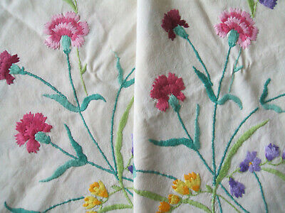 Vintage Linen Hand Embroidered Table Cloth 52 inches Square