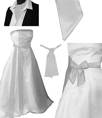 WHITE Satin Wedding Fancy Dress Party Ribbon Sash Cravat Ascot